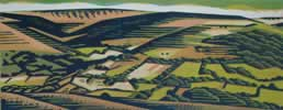 "Valley in Wales : Wood Cut : Limited Edition of 25 (30"" x 12"")"