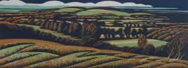 "Wychbury Hill from Clent : Wood Cut : Limited Edition of 25 (30"" x 12"")"