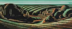 "Clent - View from Four Stones II : Wood Cut : Limited Edition of 30 (24"" x 10"")"