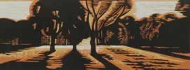 "Sunset in the Park : Wood Cut : Limited Edition of 30 (24"" x 9"")"